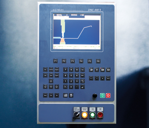 "DNC 880s CNC 2D  - The DNC 880S numerical control is intended specifically for sheet-metal bending. - According to the software installed, it will be used on synchronized or conventional press brakes with mechanical or hydraulic end stops. - The DNC 880S is a high performance, competitively priced product in a compact and slim design. - 10"" TFT colour screen - Graphic 2D display and multi-simulation capability.  - Windows XPe for multitasking and file management . - Connection to external devices through USB port for software updating and data backup. - Over 20 languages available."