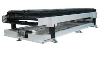 Twin Shuttle tables  The compact over – under design significantly improves production.  Unload and reload the table outside the machine while the other is on duty inside the machine.