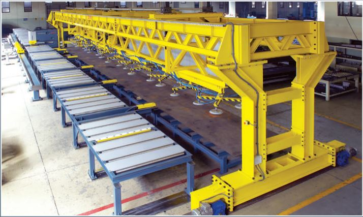 Automatic Light Pole Punching line with loading and unloading.