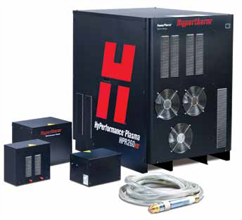 HYPERTHERM upgrade to HPR 260 Plasma Source   Upgrade to Hypertherm model HPR 260 to increase cutting capacity to: Steel dross free - 38mm, Steel edge cutting - 60mm.   HYPERTHERM upgrade to HPR 400 Plasma Source   Upgrade to Hypertherm model HPR 400 to increase cutting capacity to: Steel pierce - 50mm, Steel edge cutting - 80mm.