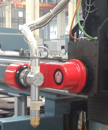 Plasma Torch Options     Tube cutting device  - Ø50-Ø400 with one support. Additional supports.                            NOTE: The photo shows the tube cutting option AND the CNC torch bevelling head option