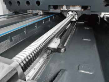 Ball Screw Supports  Y-axis ball screw supports coupled with the X-axis supports ensure that transmission power is delivered at minimum loss.  5-6m models X-axis is standard.  4m models - optional.