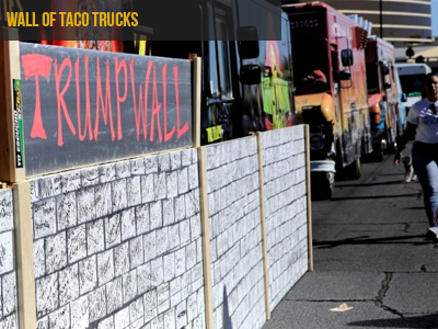 "EPHEMERAL - COLLECTIVE ""Taco trucks formed a ""wall"" outside the Trump International Las Vegas hotel, hours before the presidential debate Wednesday. ""If you don't get out and vote, this clown could be president,"" a worker told the crowd as he pointed at the building... The rally was organized by the Culinary Workers Union, which vociferously opposes Trump."" Source : cnn.com"