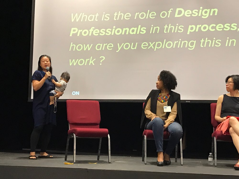 Theresa Hwang speaking at the 2018 Design Justice Summit