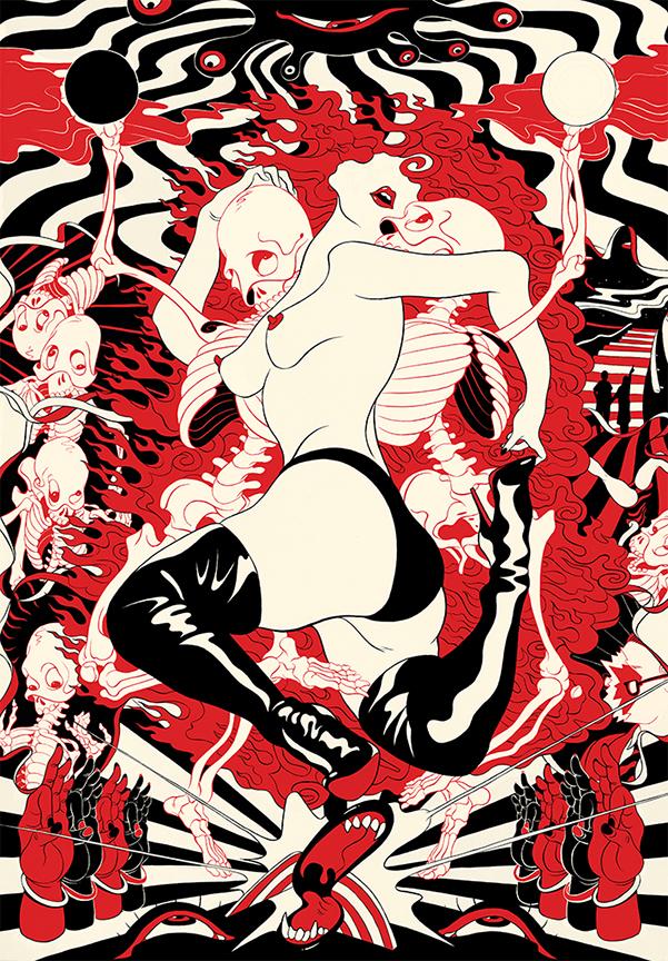 Cun Shi Illustration art Naked serigraph screenprint pop