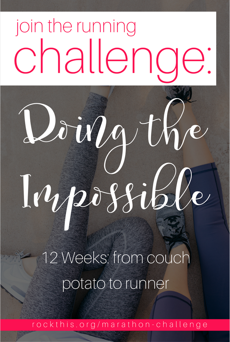 Need something to shake up your daily routine? Ready to stretch yourself to do the impossible? This is the challenge for you! Learn how to run and go from couch potato to runner in 12 weeks. In addition to becoming physically healthier, you grow spiritually as well. Nothing changes if nothing changes!