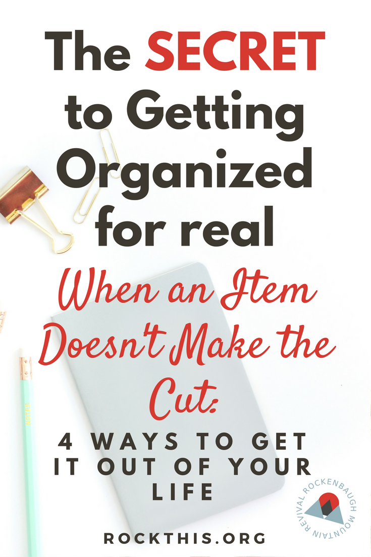 Sometimes the hardest part of letting go of an item you no longer want in your life is figuring out what the heck to do with it.  Here are four detailed options that will make getting organized way less complicated.