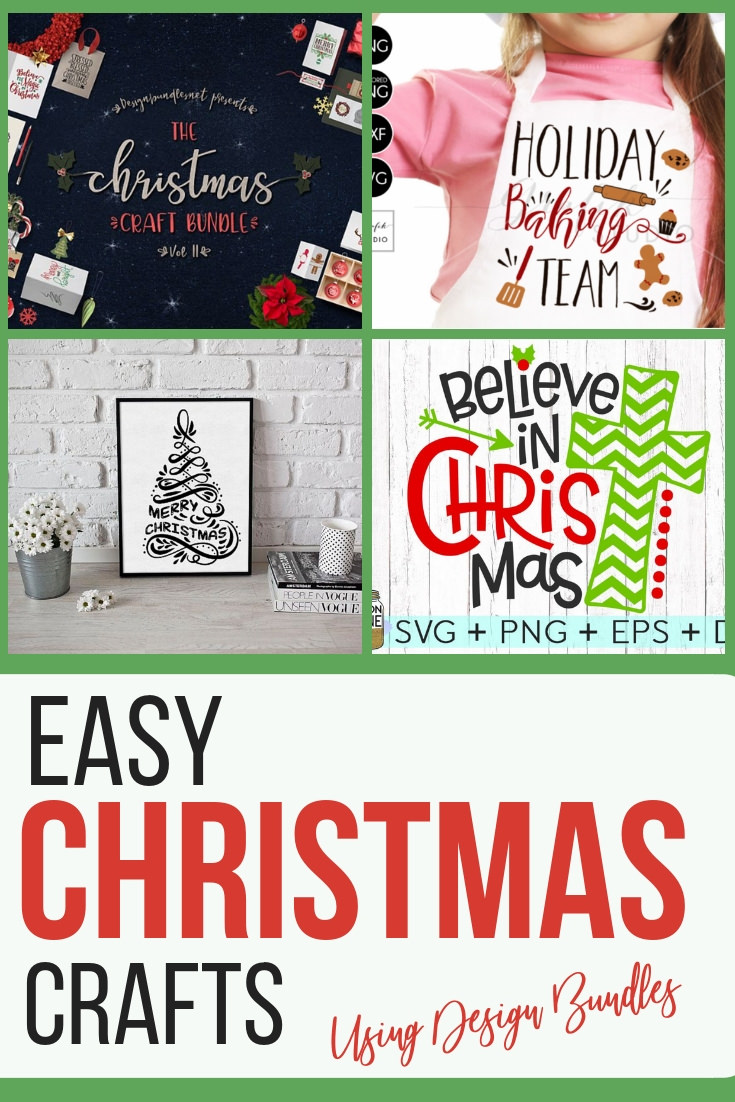 Easy Christmas Crafts using Design Bundles! Christmas is right around the corner, and now is the time to get a jumpstart on your gifts. This is a great bundle to get you started! #Christmascrafts #Christmas #designbundles