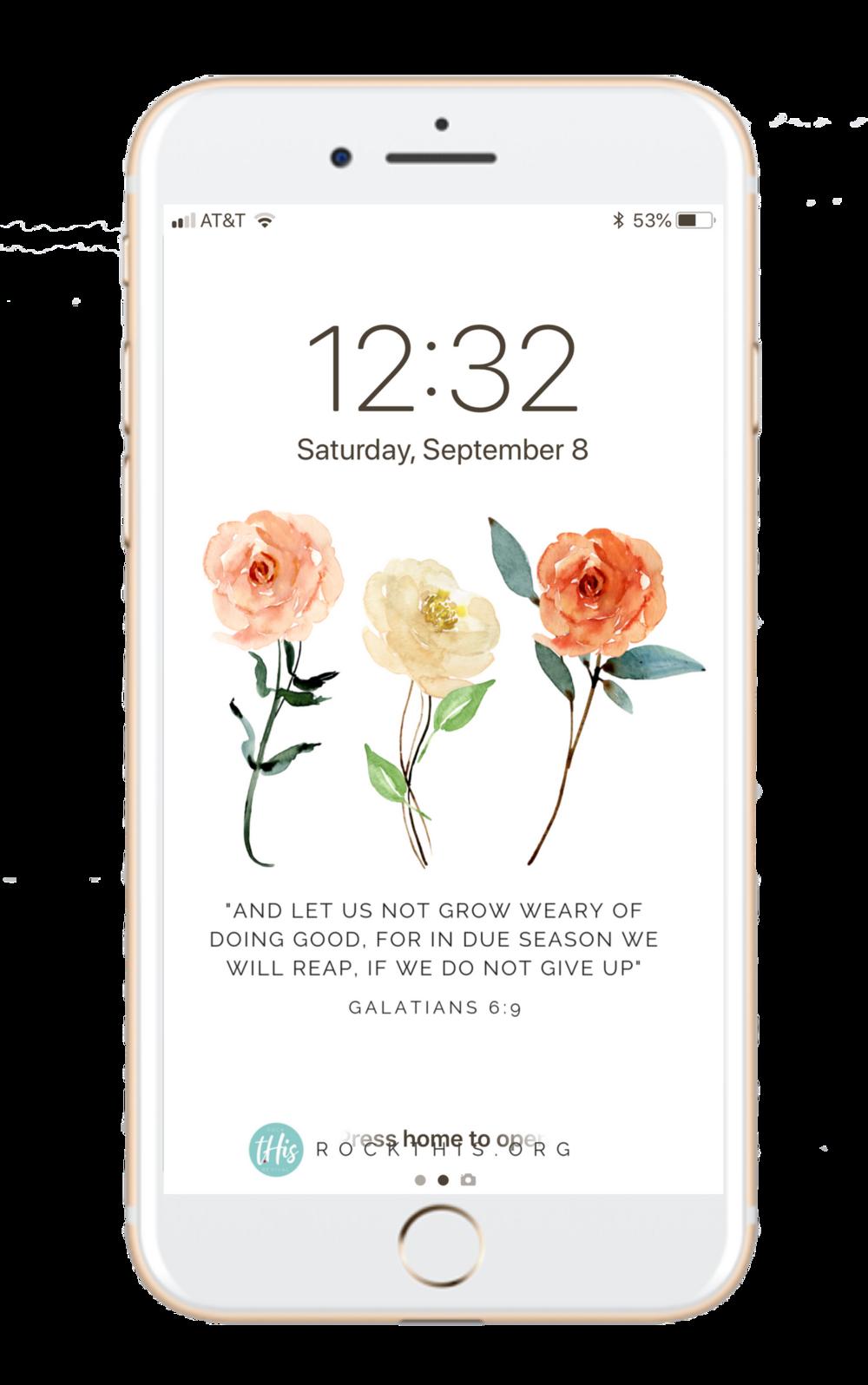 Lock Screen | An encouraging reminder you can carry around with you. Get your free lockscreen today! #joy #rockthisrevival #lockscreen #scripture #scripturelockscreen