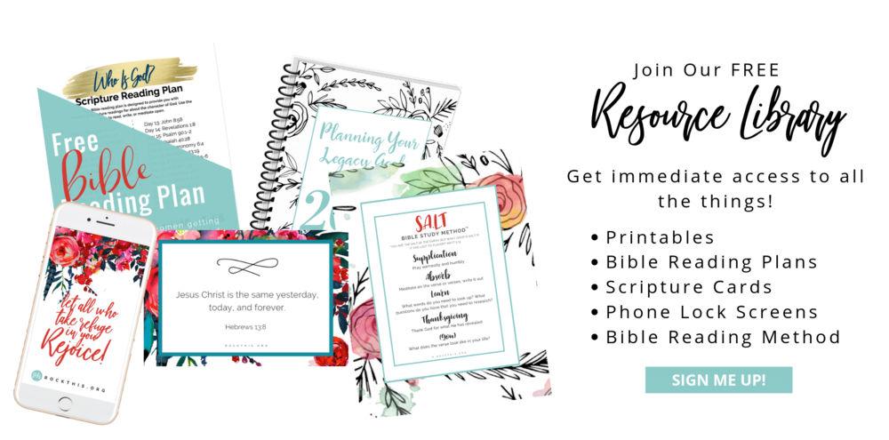 Rock This Resource Library   Get free Bible reading plans, legacy goal setting workbook, Scripture printables, and more. #rockthisrevival #christian #prayer #Bible #pray #Jesus