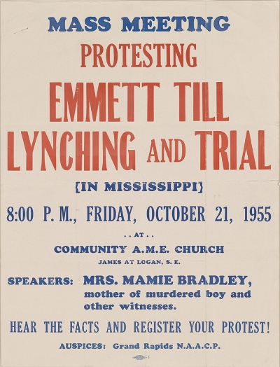 A rare broadside or flyer promoting an appearance by Till's mother in Grand Rapids, MI. If you have this or other items relating to Emmett Till and the civil rights movement contact Scott Mussell at srmussell@me.com or 515.707.7250 anytime.