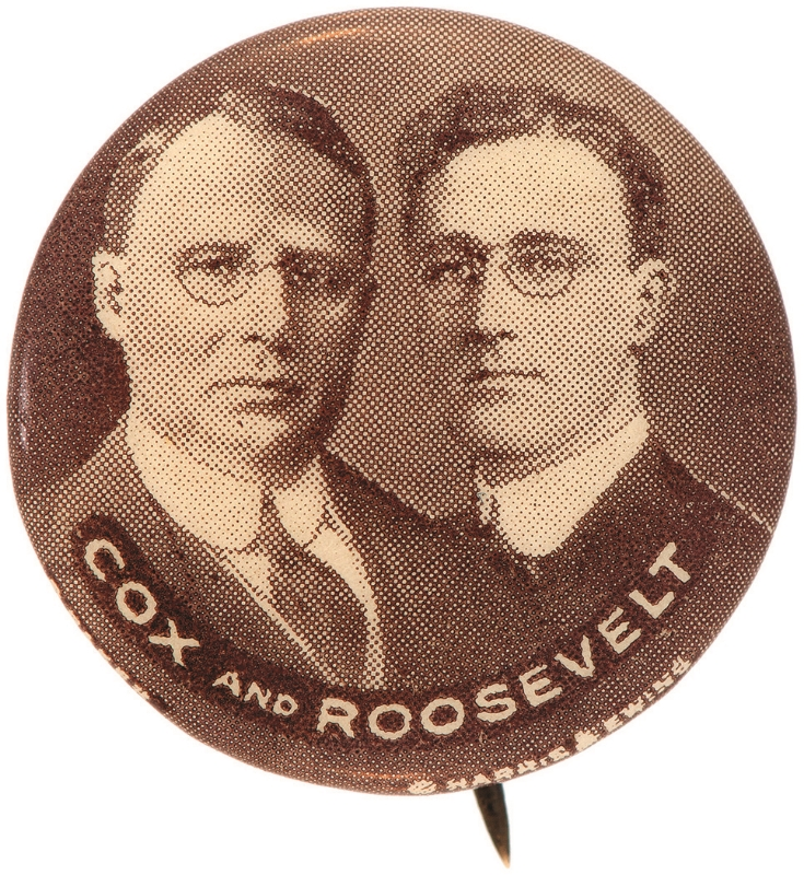 One of the most prized buttons in the hobby- the 1920 Cox/Roosevelt jugate.