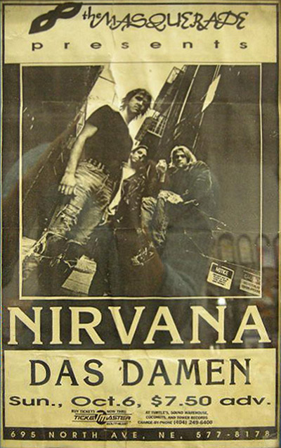 Collector Scott Mussell is seeking this poster for a Nirvana show in Atlanta, GA. Contact him at 515-707-7250 or srmussell@me.com