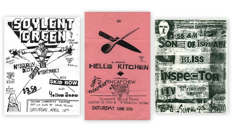 Three early pre-Nirvana flyers from the Community World Theater with the band listed as Skid Row, Pen Cap Chew and Bliss respectively. If you have any of these flyers contact Mussell at 515.707.7250 anytime.