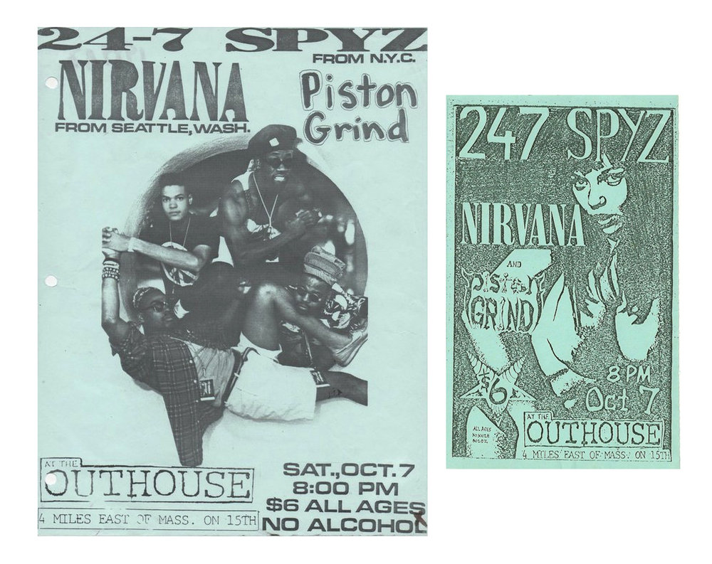 A flyer and handbill from Nirvana's first appearance in Kansas at The Outhouse opening for 24-7 Spys during a 1989 American tour. If you have original examples of these or other pre-1992 Nirvana concert posters, flyer or handbills contact Scott Mussell at srmussell@me.com or 515.707.7250 anytime.