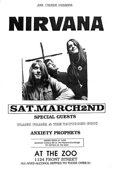 Wanted nirvana boise idaho 1991 the zoo concert poster scott mussell