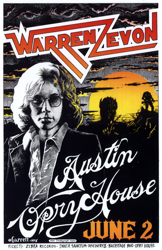 Collector Scott Mussell is offering $250 for this Austin, Texas Warren Zevon concert poster. Contact him at srmussell@me.com