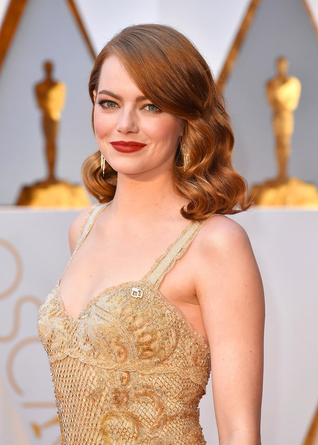 Emma Stone - The Best Actress winner was perfectly Old Hollywood Glam from head to toe.
