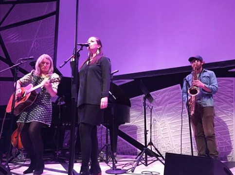 Fiona and Liz perform at ESOPUS:CLOSE CALLS at National Sawdust. Gabriel Birnbaum on sax