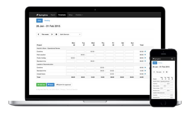 Online timesheets on Macbook and iPhone