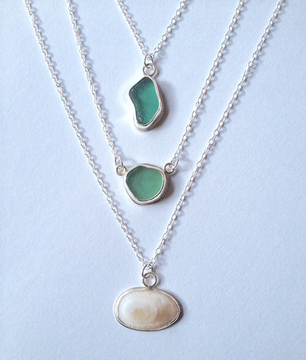 Turquoise Sea Glass Necklace Pair