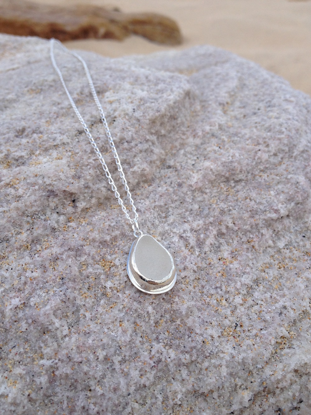 White Sea Glass Tear Drop Necklace