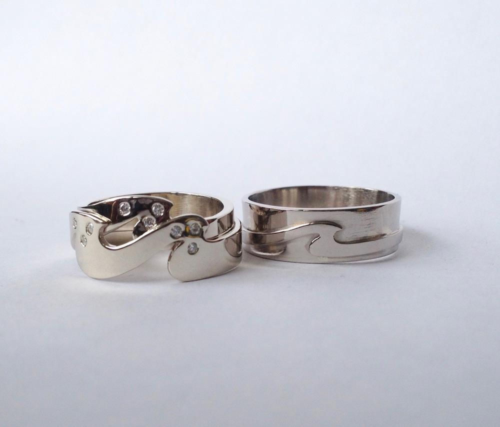 14k White Gold Wedding Set
