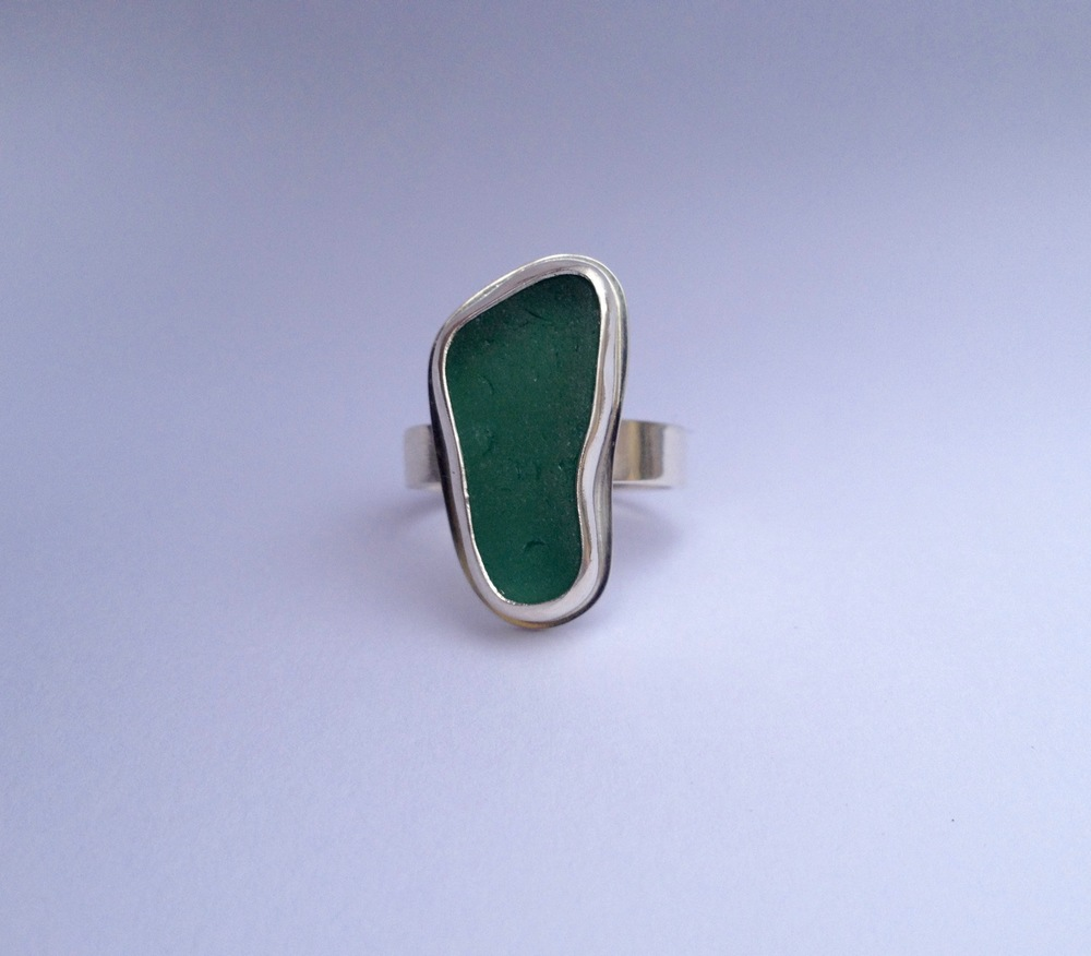 Dark Turquoise Sea Glass Ring