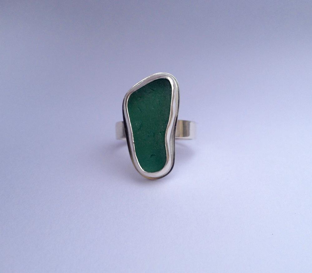 Dark Turquoise Sea Glass Ring