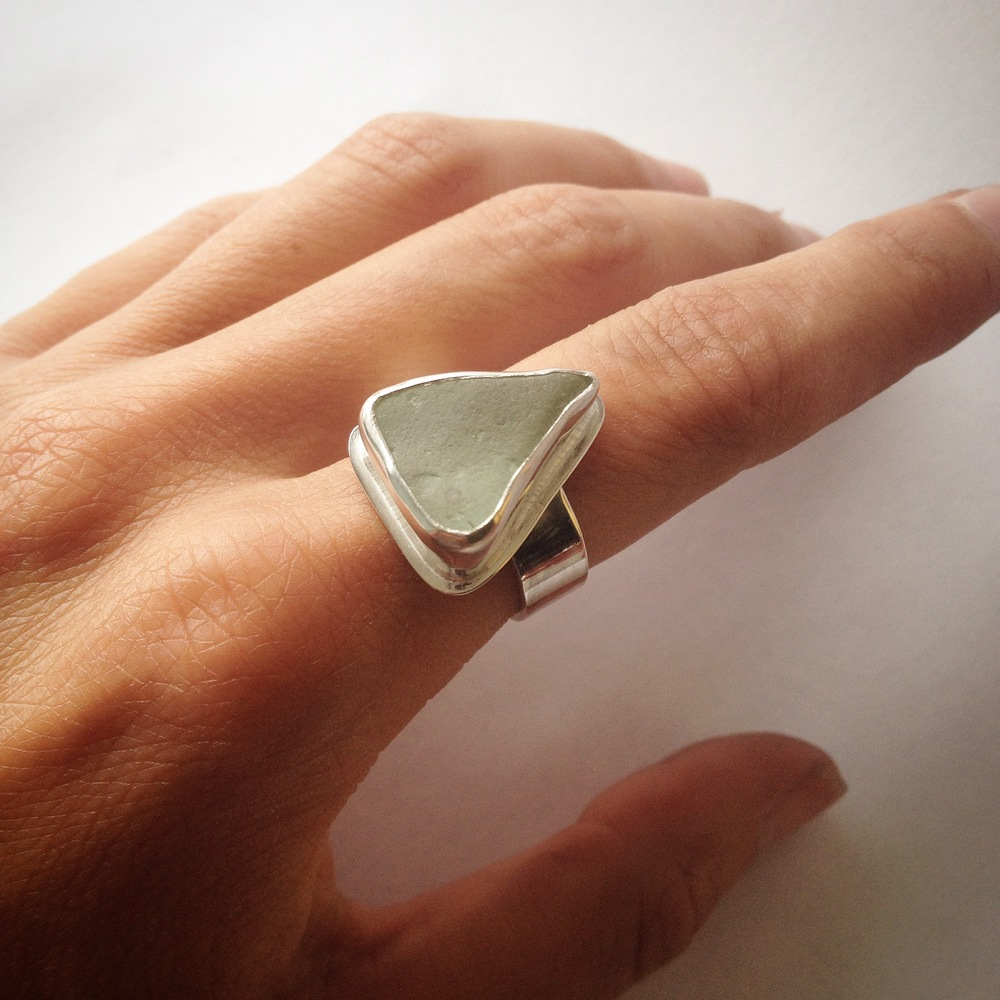 Light Green Triangle Sea Glass Ring