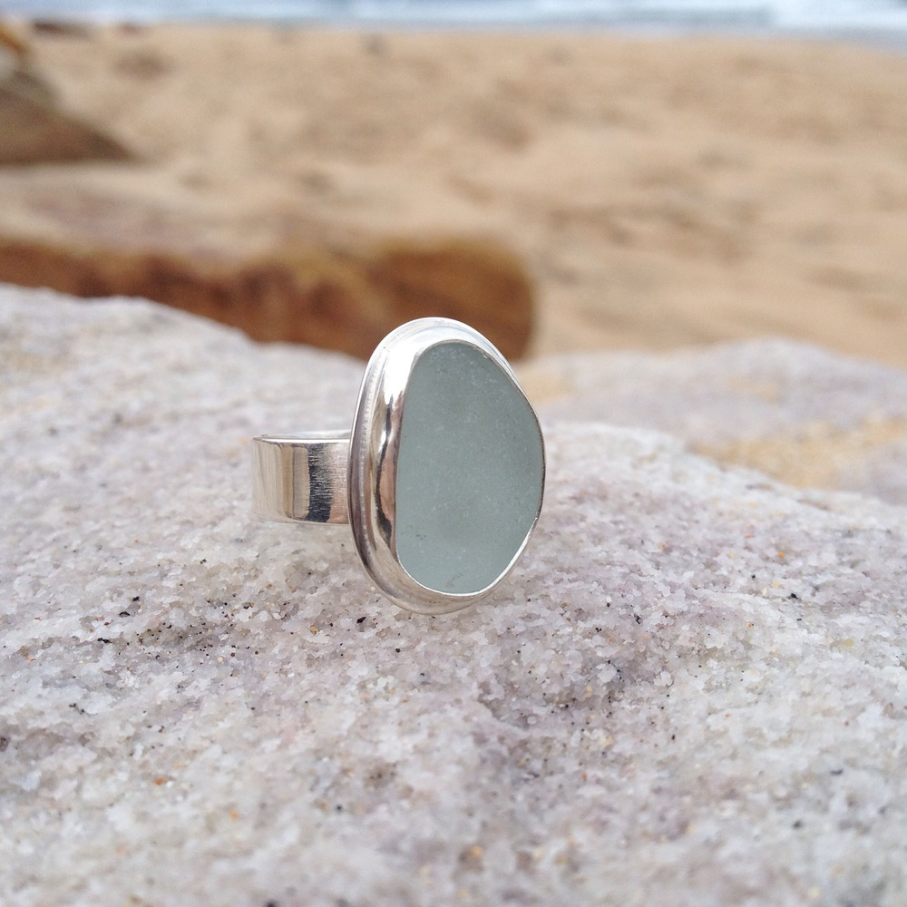 Light Blue Sea Glass Ring