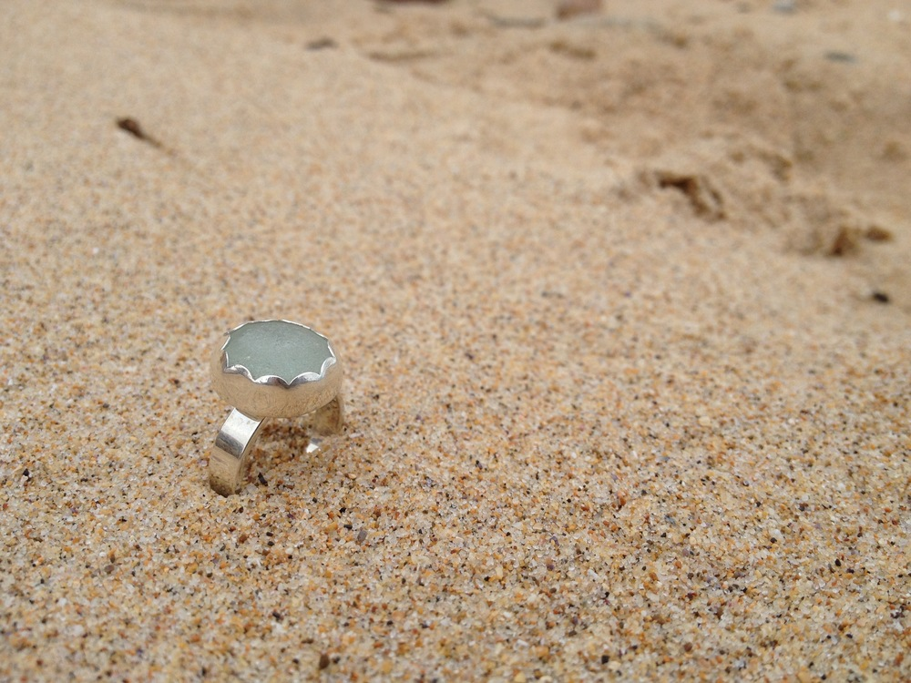 Light Blue Scalloped Sea Glass Ring