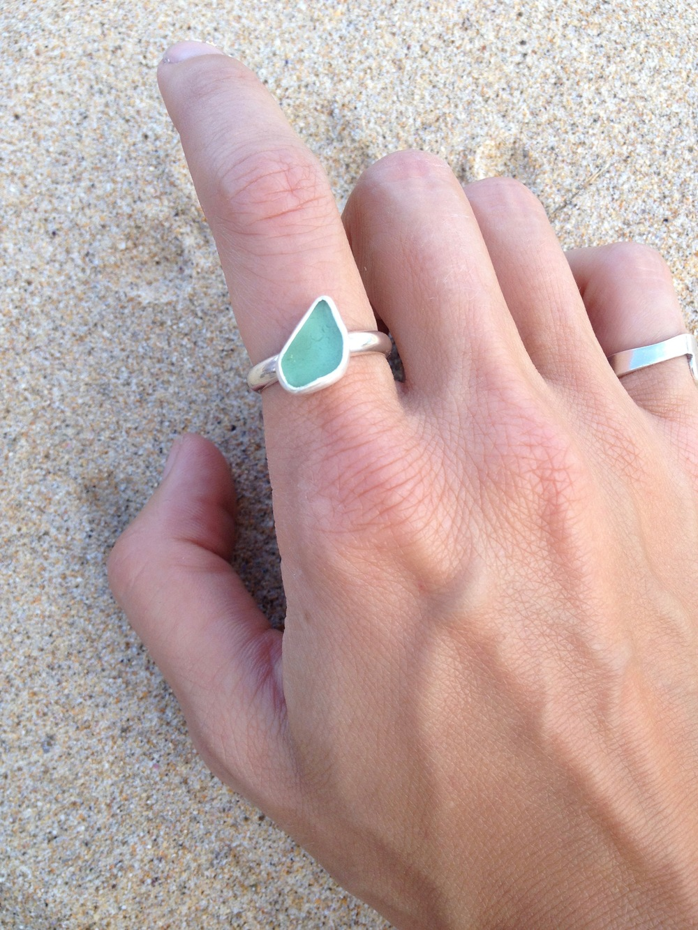 Light Turquoise Sea Glass Ring