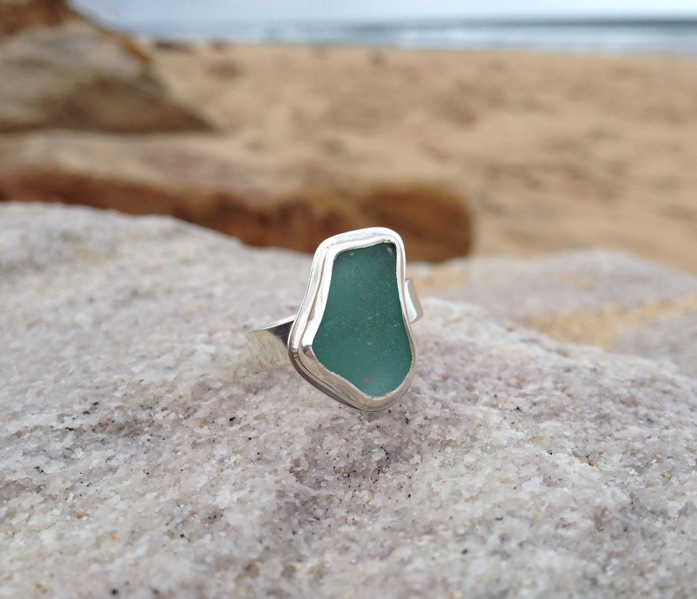 Abstract Turquoise Sea Glass Ring
