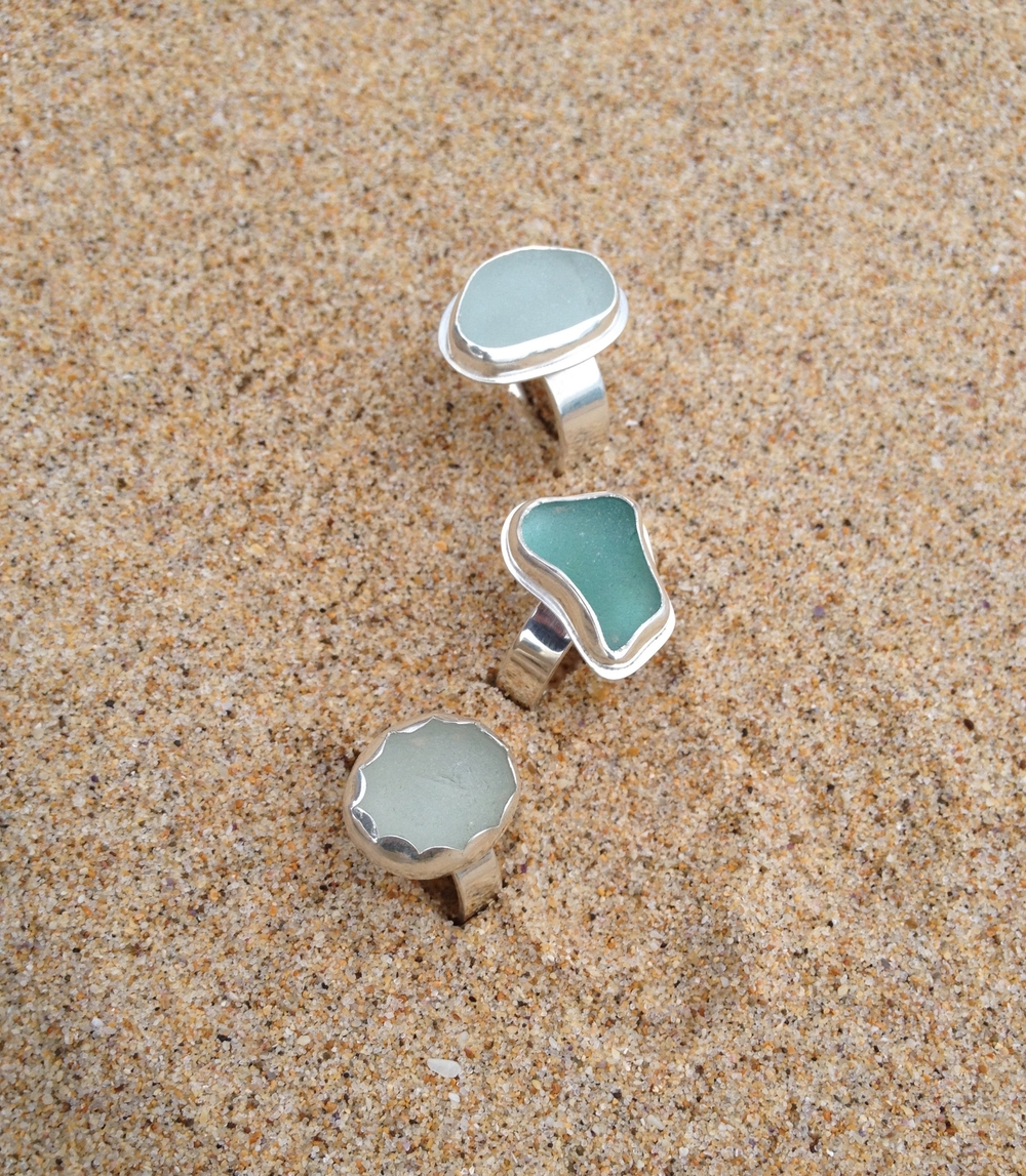 Blue Hues Sea Glass Ring Set