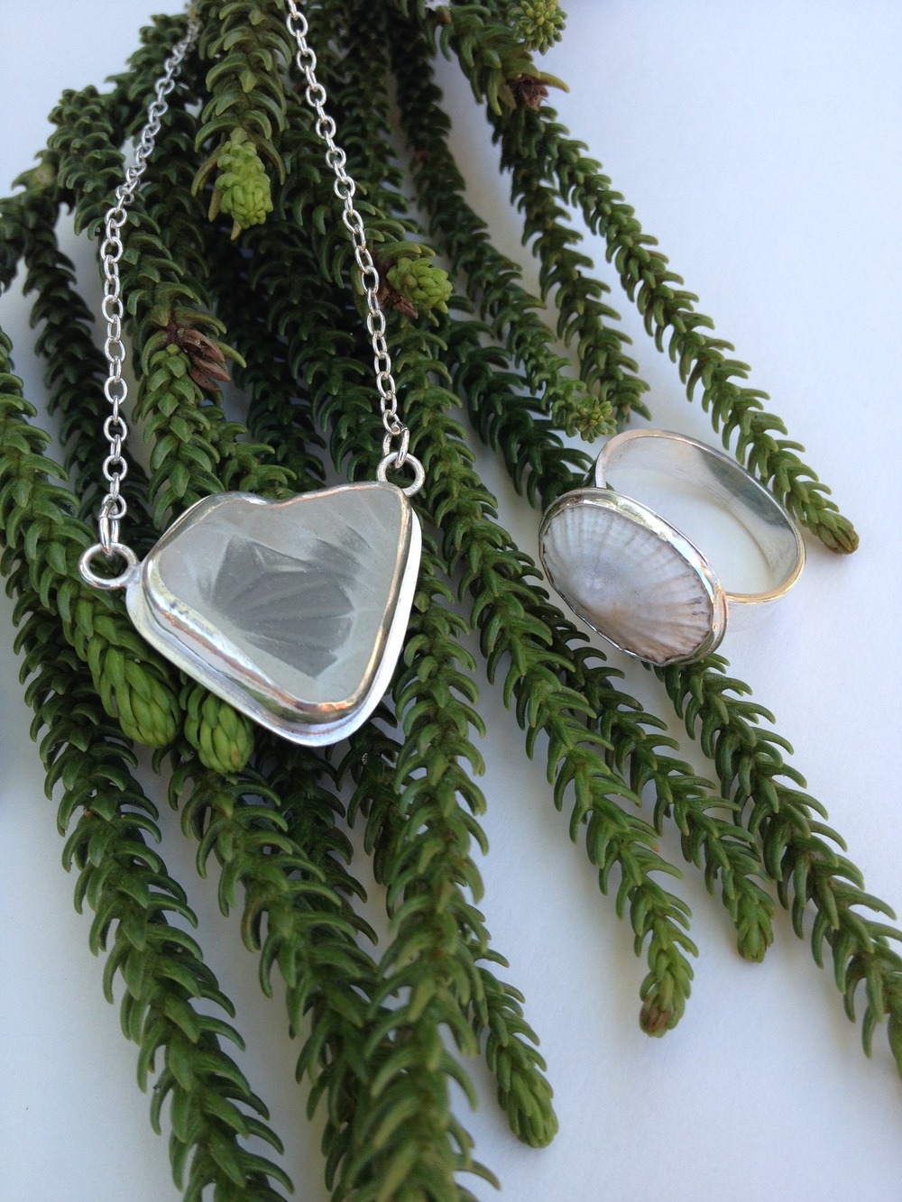 Crystal Heart White Sea Glass Necklace and White Limpet Shell Ring
