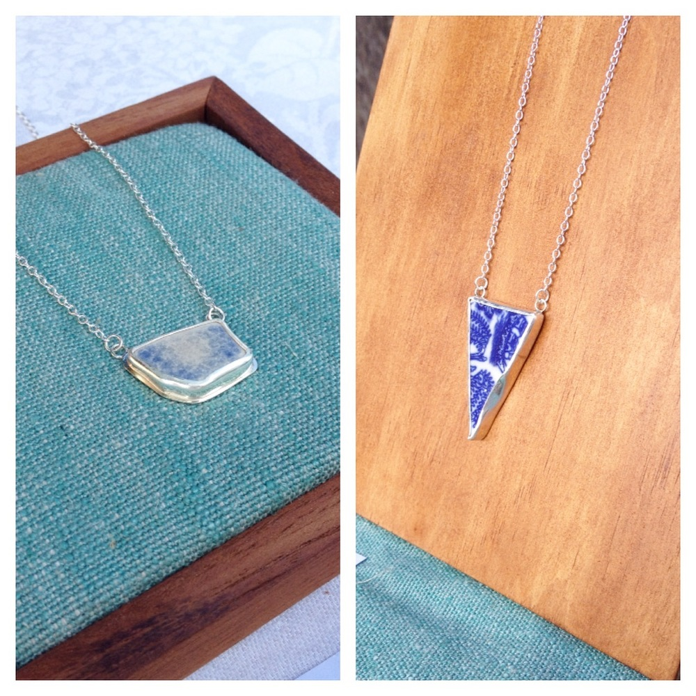 Blue Sea Pottery Necklaces