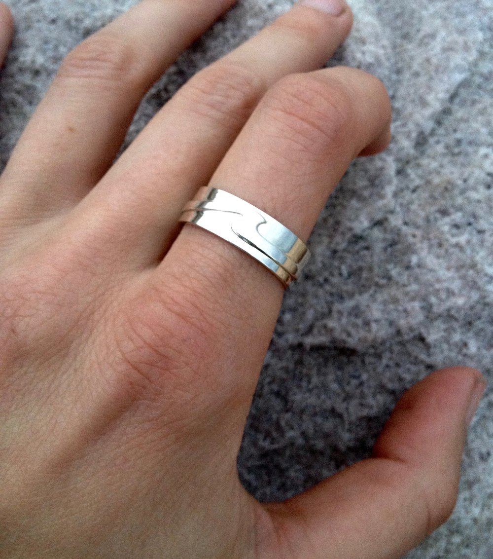 Mens Sterling Silver Wave Ring