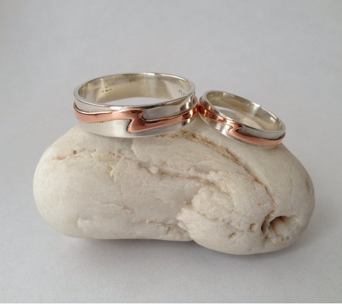 Ladies Sterling Silver & Copper Wave Ring