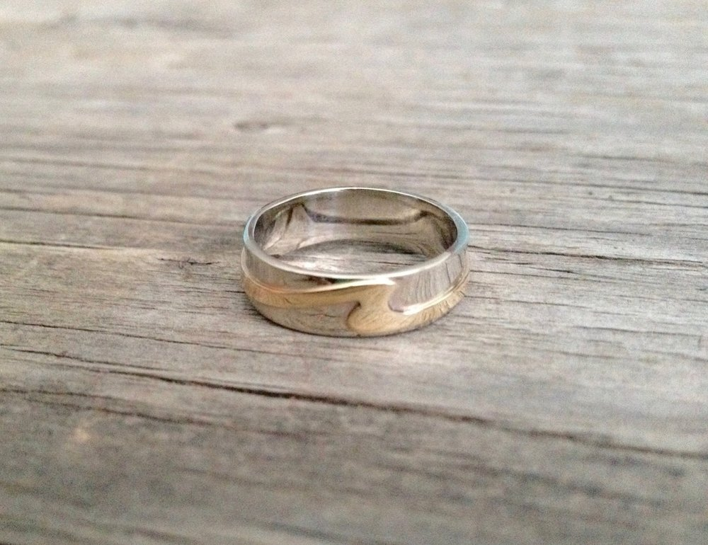 Ladies Sterling Silver & 10kt Yellow Gold Wave Ring