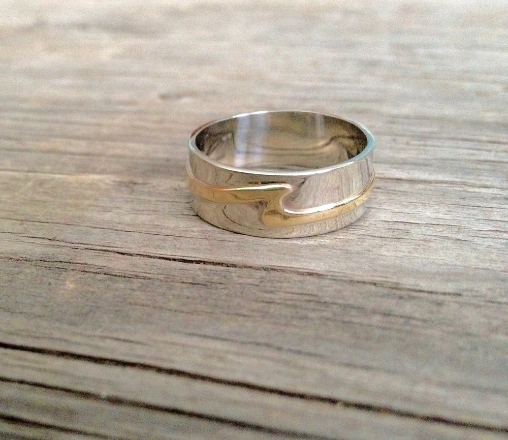 Mens Sterling Silver & 10kt Yellow Gold