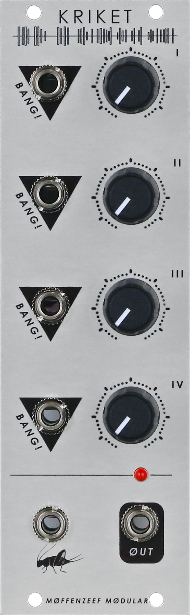 eurorack, eurorack modular, drum module, glitch, noise, synth, industrial, aggressive, distortion, CV, control voltage, error, digital, analog, kriket, moffenzeef, moffenzeef modular, synthesizer, modular synthesizer