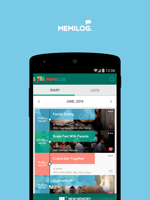 An online diary for mobile. App UI/UX