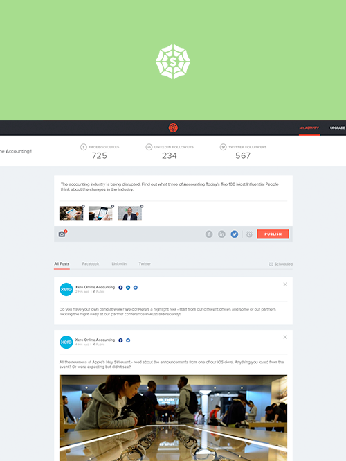UX/UI for mySpiderweb social media management tool