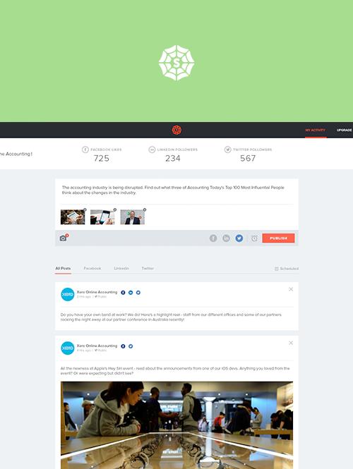 UX/UI for mySpiderweb social media management tool
