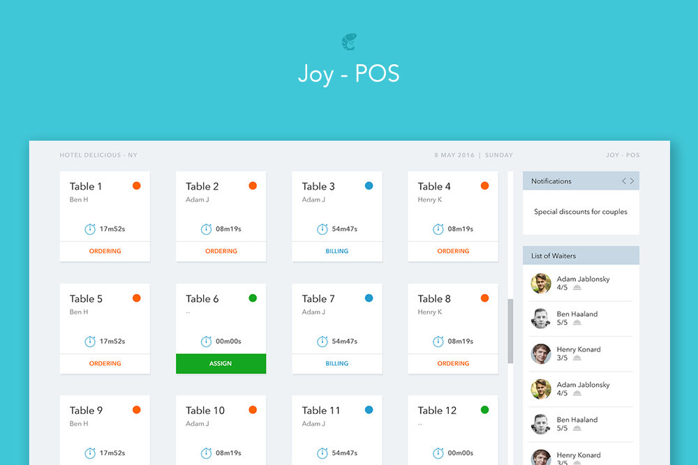 Joy is an innovative patron and wait staff ordering system with restaurant POS.