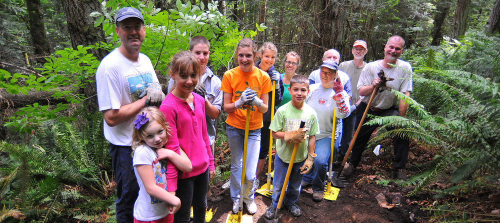 Local trail building volunteers have donated over 14,000 man-hours since 2009, creating and improving Little Mountain Park's nearly   ten miles of hiking and biking trails  . Photo © Terry Afdem
