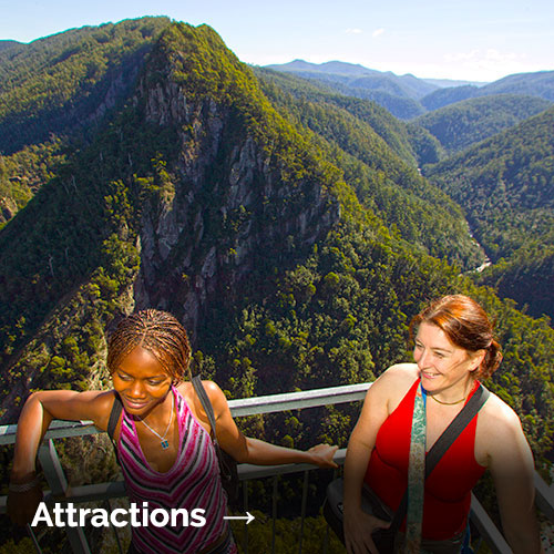 Attractions  → Edit the text here with your own text. Be careful – too much text can throw the style out. + more information