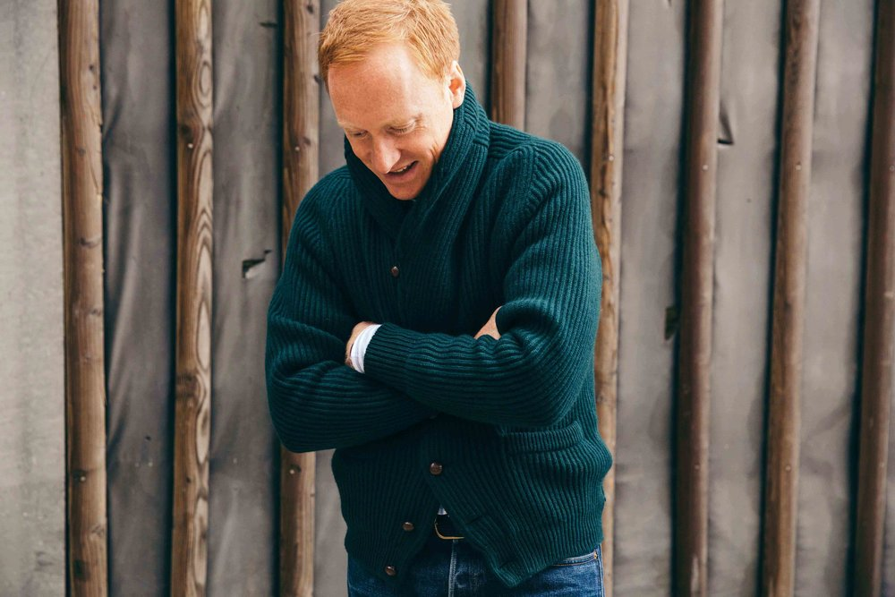 Hill models the Drakes four-ply cashmere shawl-collar cardigan (available for purchase here).