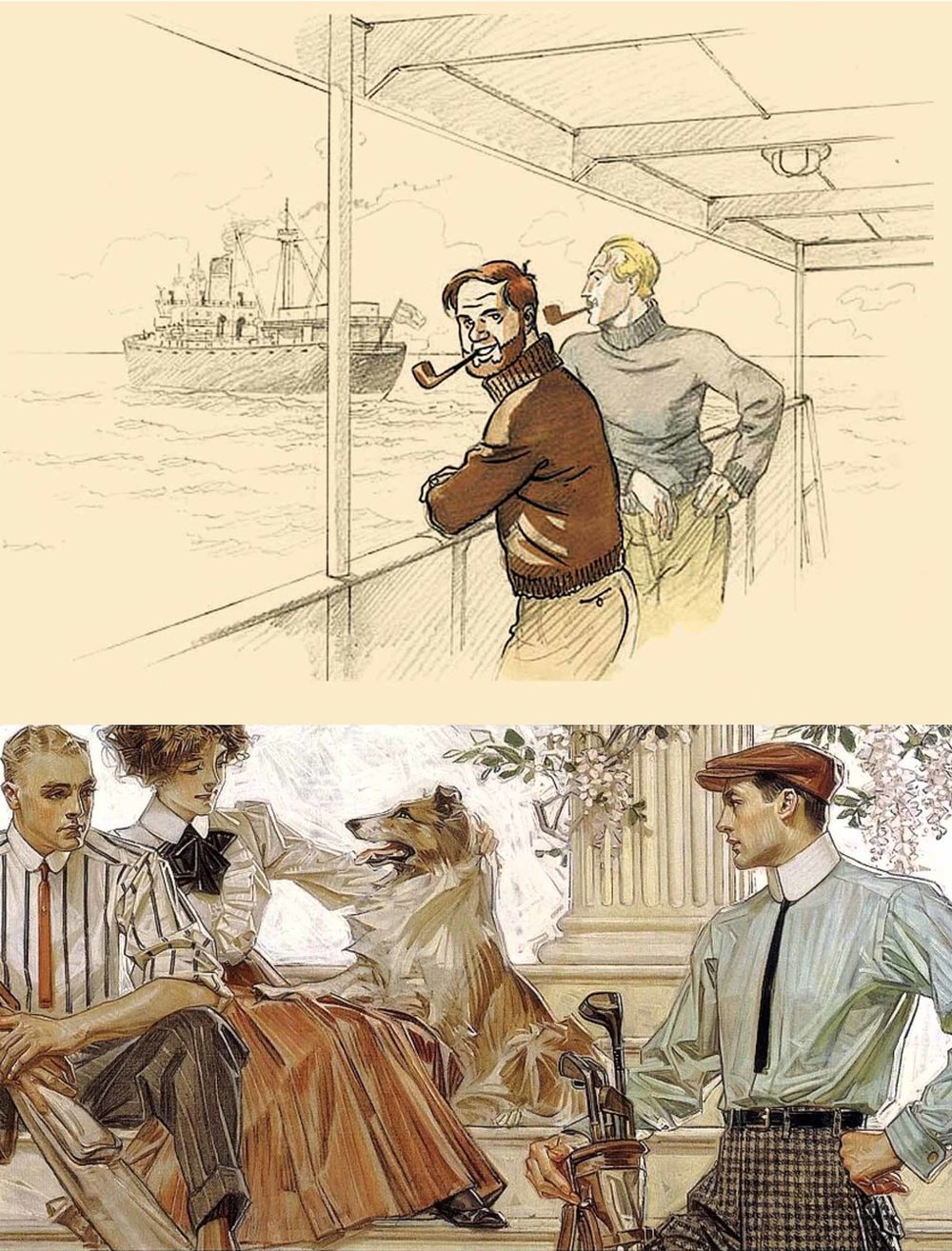 Influential illustrations from adventure comic series Blake et Mortimer (top) and US commercial artist JC Leyendecker.